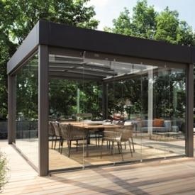 Bauhaus stílusú, szabadon álló üvegház